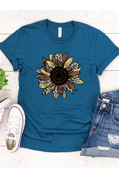 Picture of Sunflower Glitter Print Graphic Tee