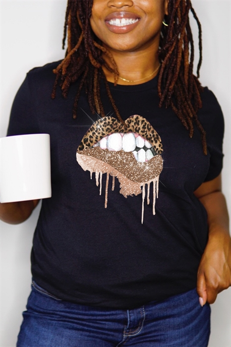 Picture of Glitter Leopard Lips Graphic Tee