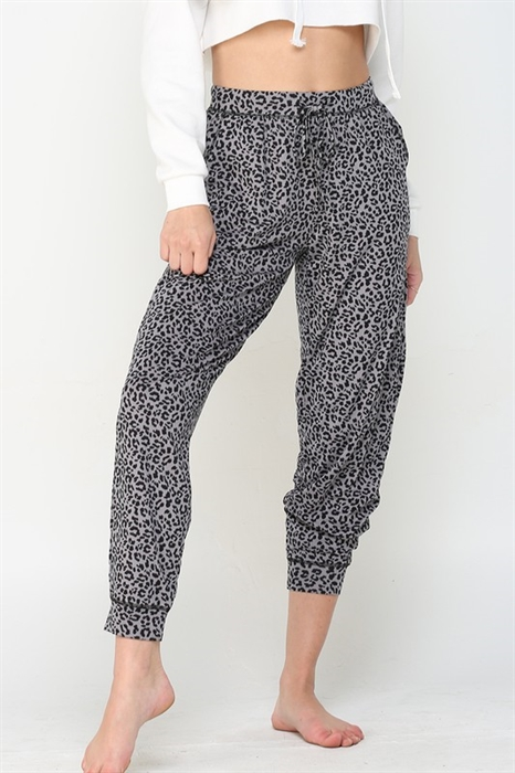 Picture of Ultra Soft Charcoal Leopard Trousers