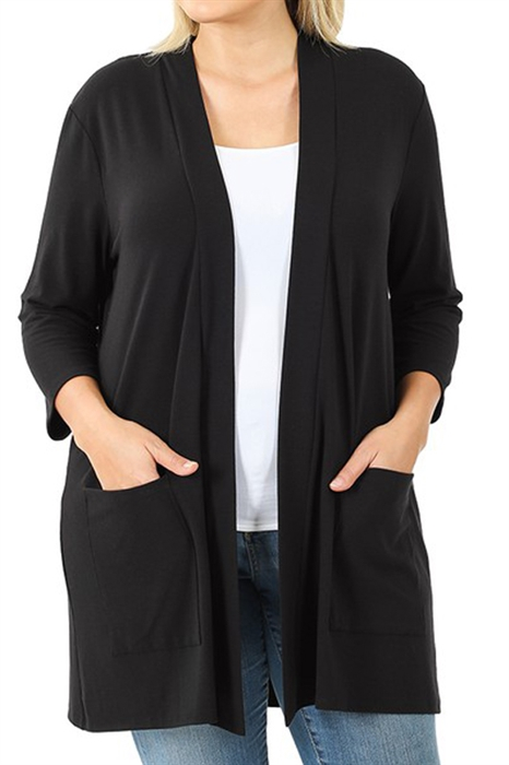 Picture of 3/4 Sleeve Slouchy Pocket Cardigan