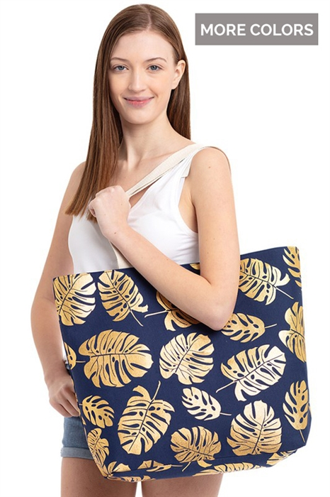 Picture of Foil Tropical Leaves Tote