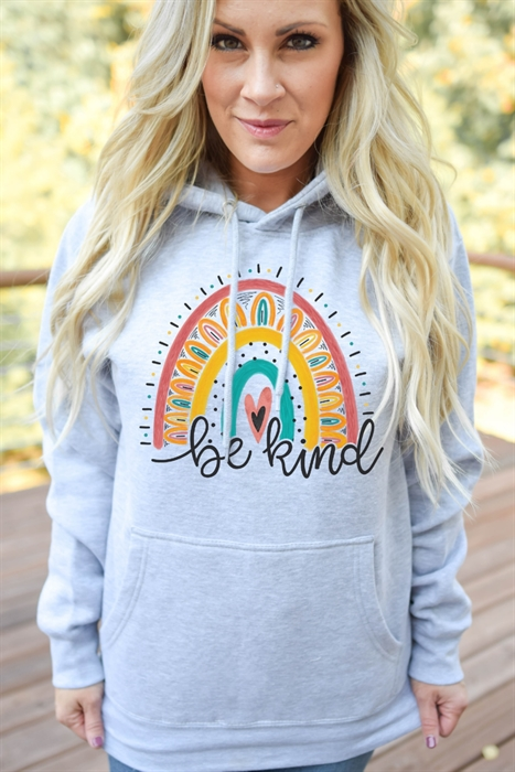 Picture of Be Kind Sunflower Rainbow Graphic Hoodie