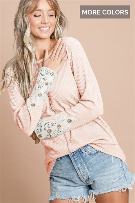 Picture of Lace Waffle Knit Top