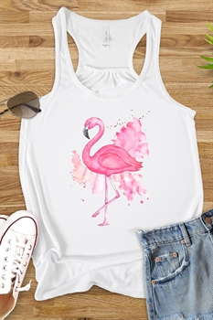 Picture of Watercolor Flamingo Flowy Graphic Tank