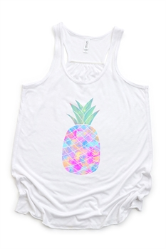Picture of Pastel Pineapple Flowy Graphic Tank