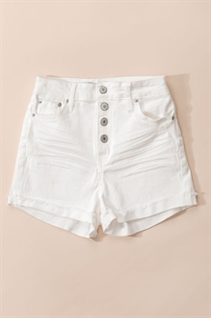 Picture of Folded Hem Button Down Shorts | White
