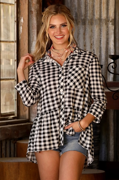 Picture of Peplum Plaid Top
