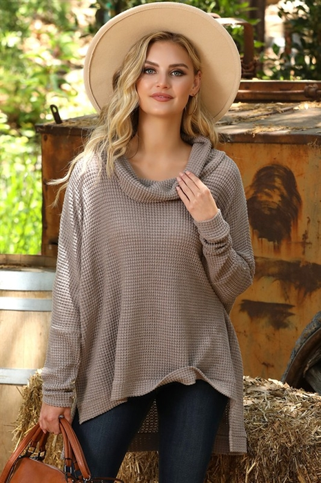 Picture of Waffle Cowl Neck Top