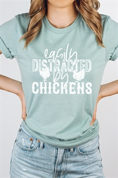 Picture of Easily Distracted By Chickens Graphic Tee